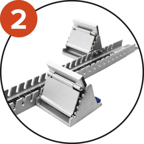 Central rail with 20 adjustable positions