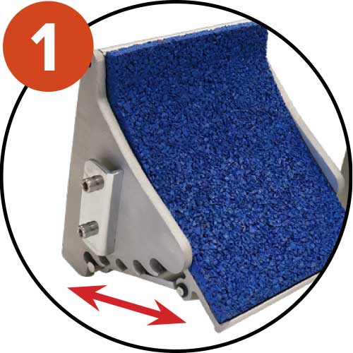 Blocks with 5 adjustable positions, covered with anti-slip coating
