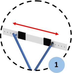 Adjustable in 5 positions (height from 0.15m to 0.7m)