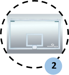 Patented dunk-proof 12mm glass backboard
